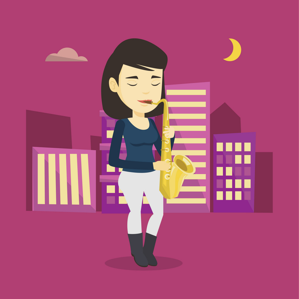 Asian woman with eyes closed playing on saxophone in the night. Pleased musician playing on saxophone. Musician with saxophone in the city street. Vector flat design illustration. Square layout.