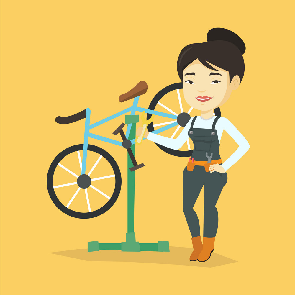 Asian woman working in bike workshop. Technician fixing bicycle in repair shop. Bicycle mechanic repairing bicycle. Woman installing spare part bike. Vector flat design illustration. Square layout.