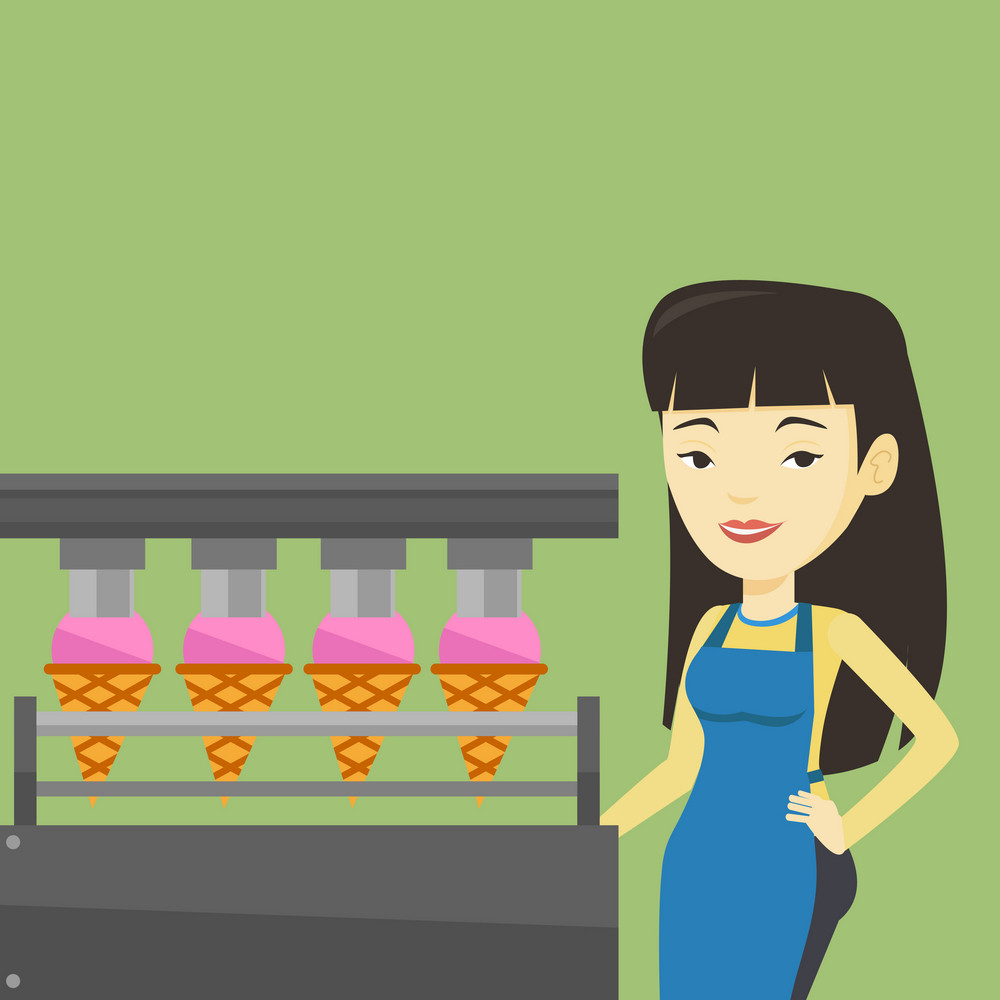 Asian worker of ice cream manufacture. Worker of factory producing ice-cream. Young confectioner working on automatic production line of ice cream. Vector flat design illustration. Square layout.