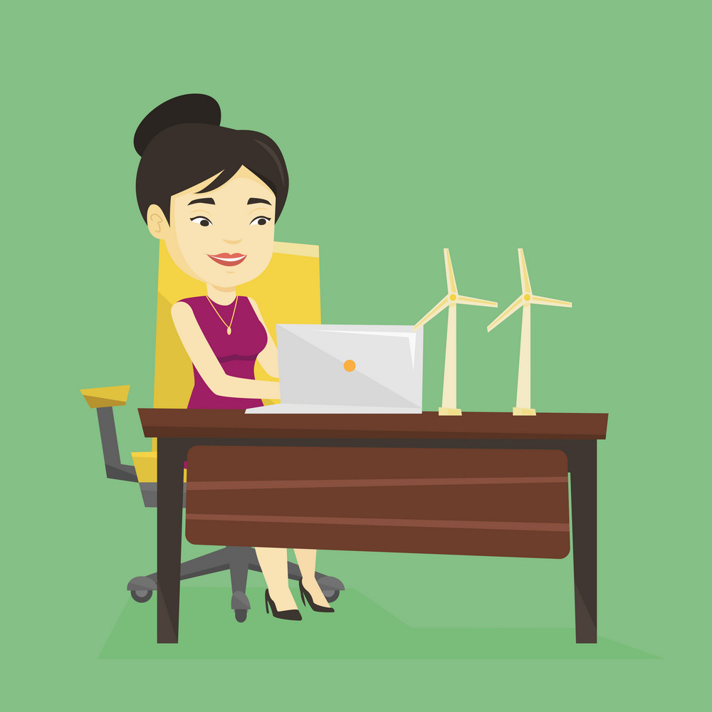 Asian worker of wind farm working on a laptop. Young engineer projecting wind turbine in office. Smiling engineer with model of wind turbine. Vector flat design illustration. Square layout.