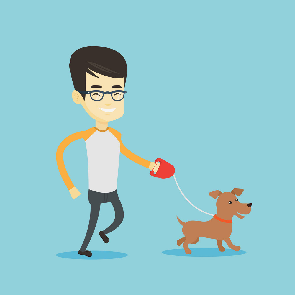 Asian young man with his dog. Cheerful man walking with his small dog. Happy man taking dog on a walk. Smiling man walking a dog on a leash. Vector flat design illustration. Square layout.