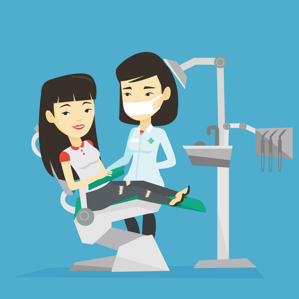 Asian young woman sitting in dental chair while dentist standing nearby. Doctor and patient in the dental clinic. Patient on reception at the dentist. Vector flat design illustration. Square layout.
