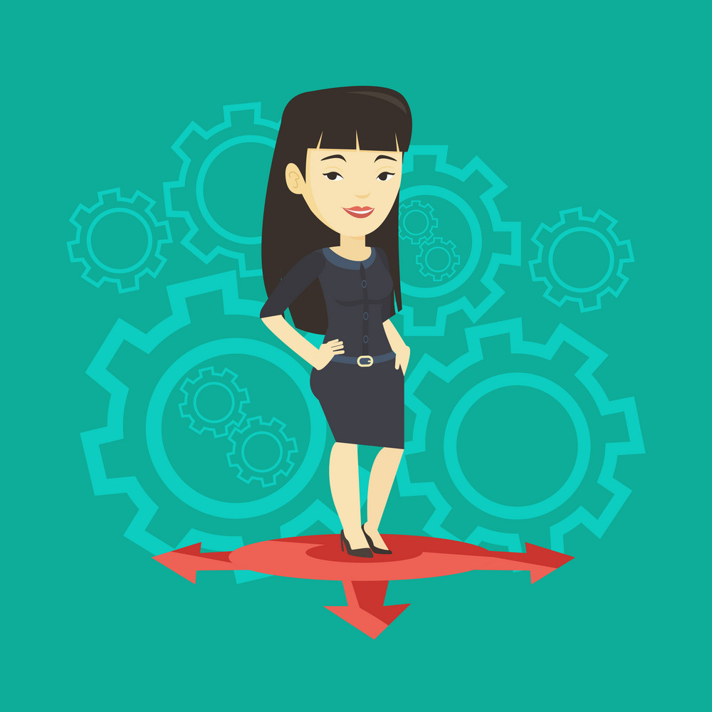 Asian young woman standing on three alternative career ways. Woman choosing career way. Woman making a decision of career. Concept of choice of career. Vector flat design illustration. Square layout.