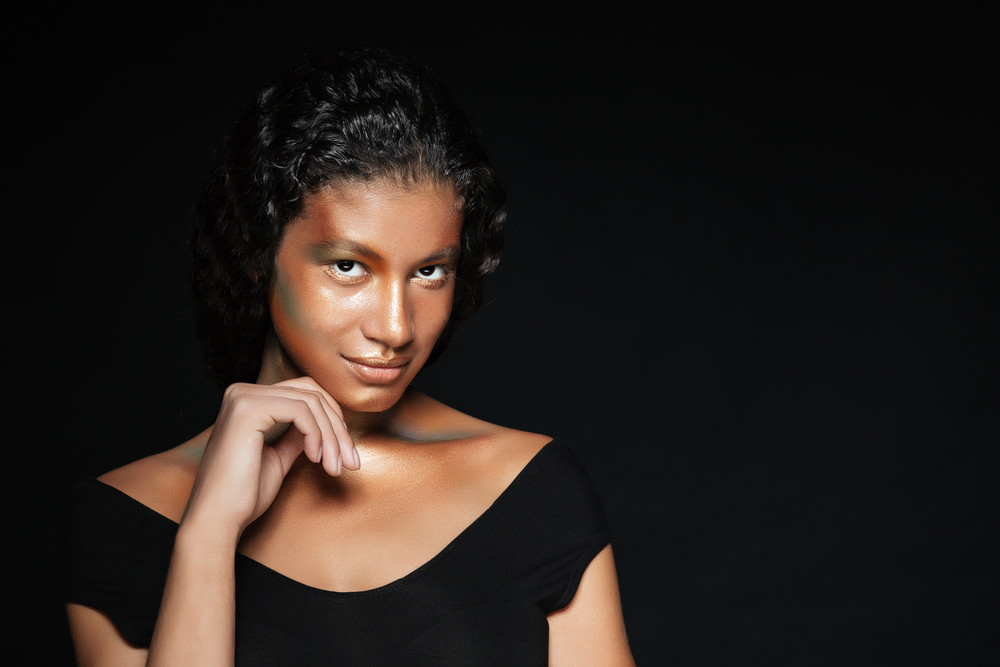 Attractive african american young woman with fashion makeup