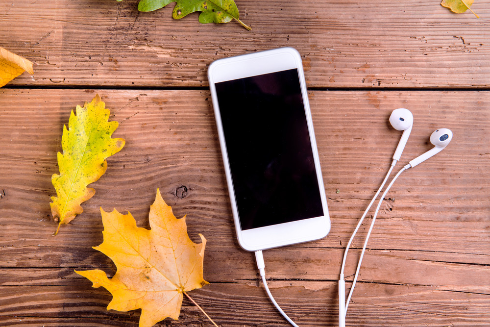 Autumn composition. Close up of colorful oak and maple leaves and white smart phone with earphones. Studio shot on wooden background, flat lay.