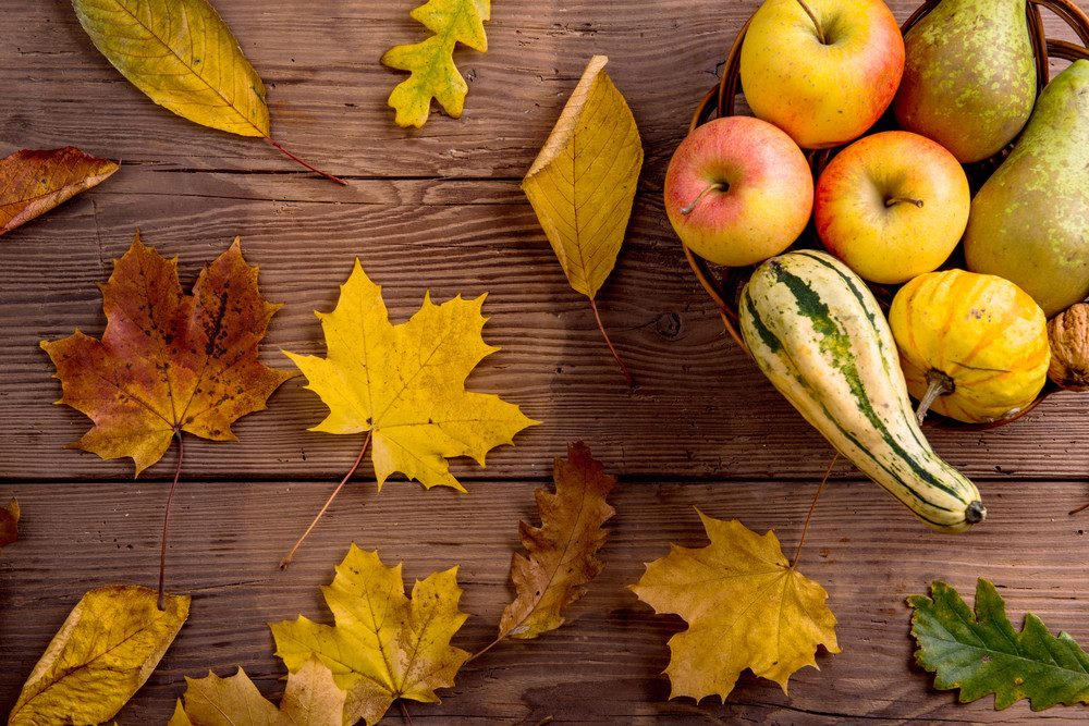 Autumn leaf and fruit composition. Studio shot on wooden background.