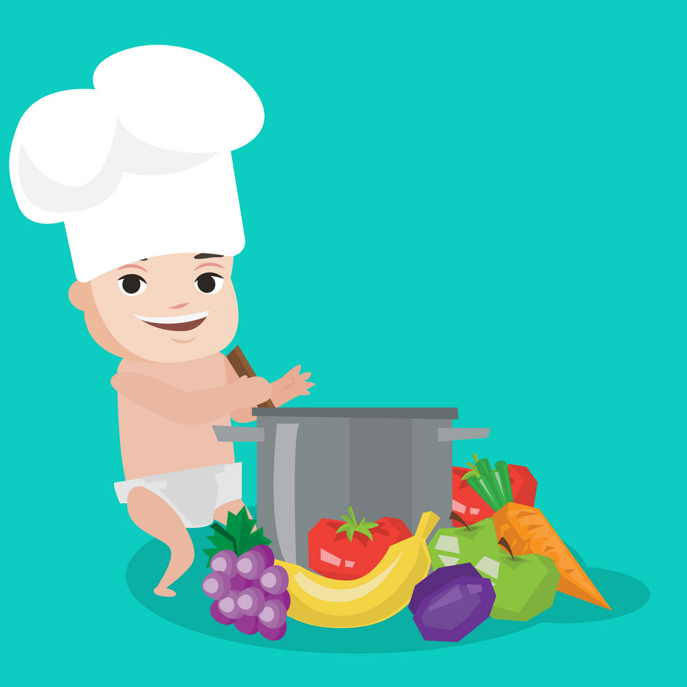 Baby boy in chef hat standing near big pan with vegetables. Baby boy playing with saucepan and vegetables. Caucasian baby cooking healthy vegetable meal. Vector flat design illustration. Square layout