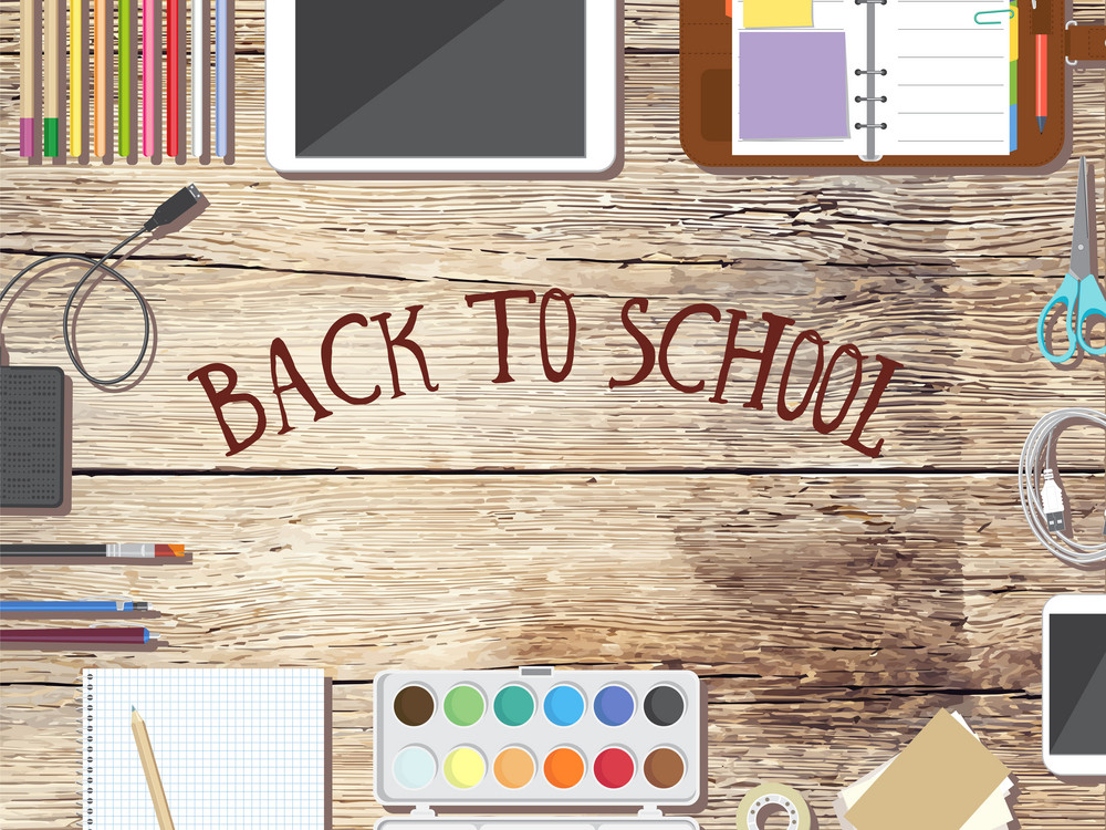 Back to school desktop composition. Vector illustration.