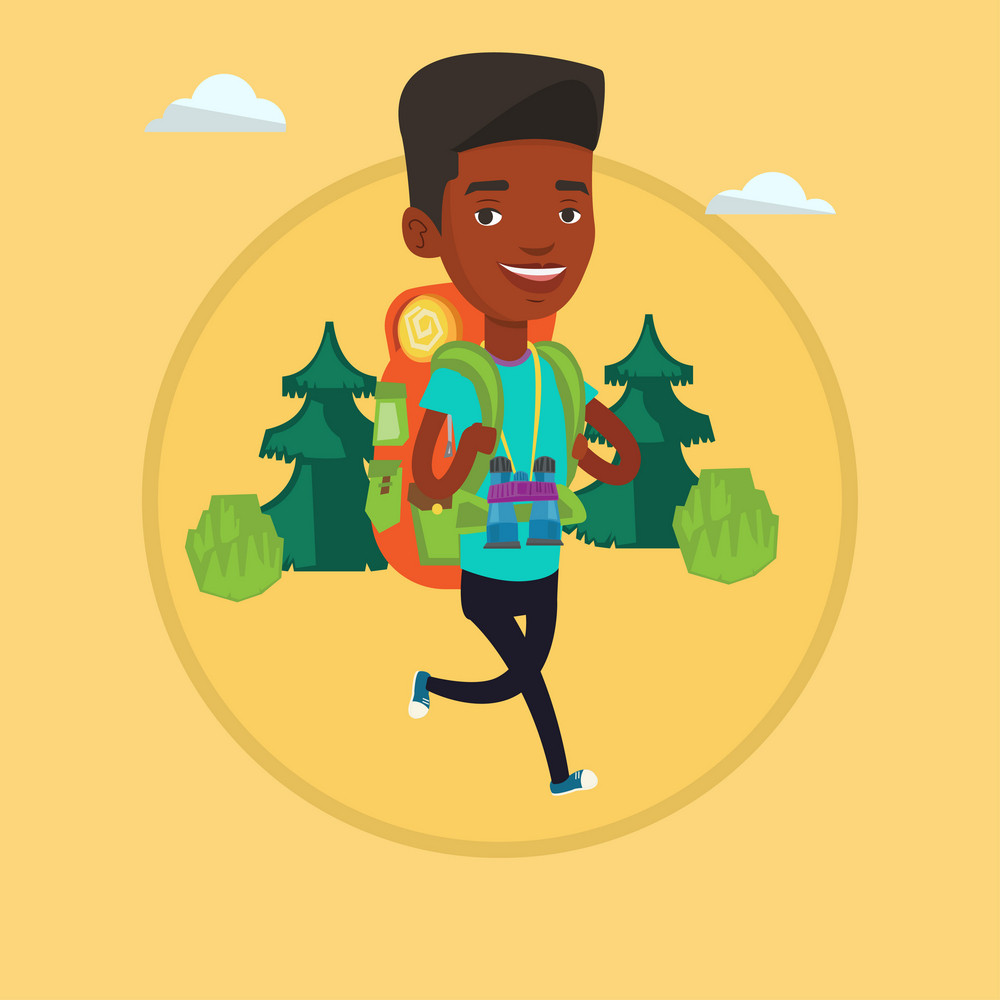 Backpacker with backpack and binoculars walking outdoor. Backpacker hiking in the forest during trip. Backpacker traveling in nature. Vector flat design illustration in circle isolated on background.