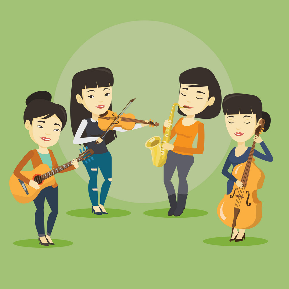 Band of asian musicians playing on musical instruments. Group of musicians playing on musical instruments. Band of musicians performing with instruments. Vector flat design illustration. Square layout