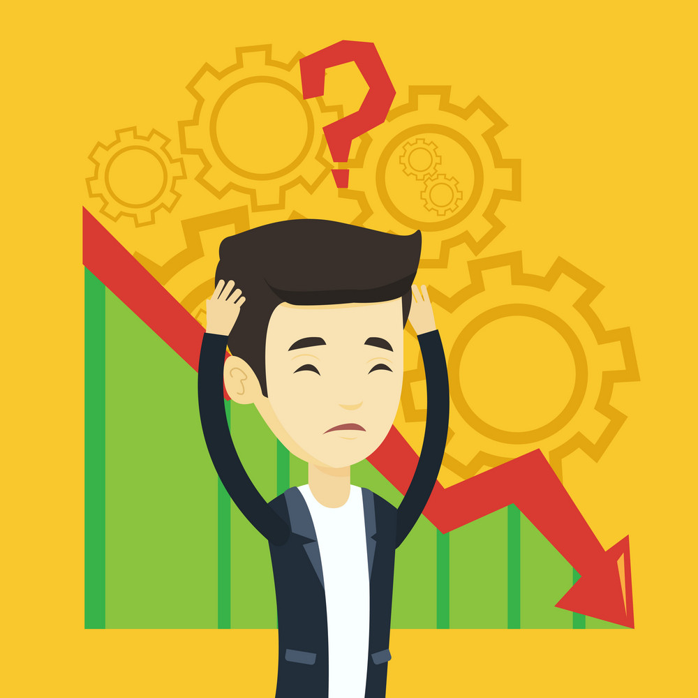 Bankrupt clutching head on the background with cogwheels and chart going down. Man with big question mark above his head. Business bankruptcy concept. Vector flat design illustration. Square layout.