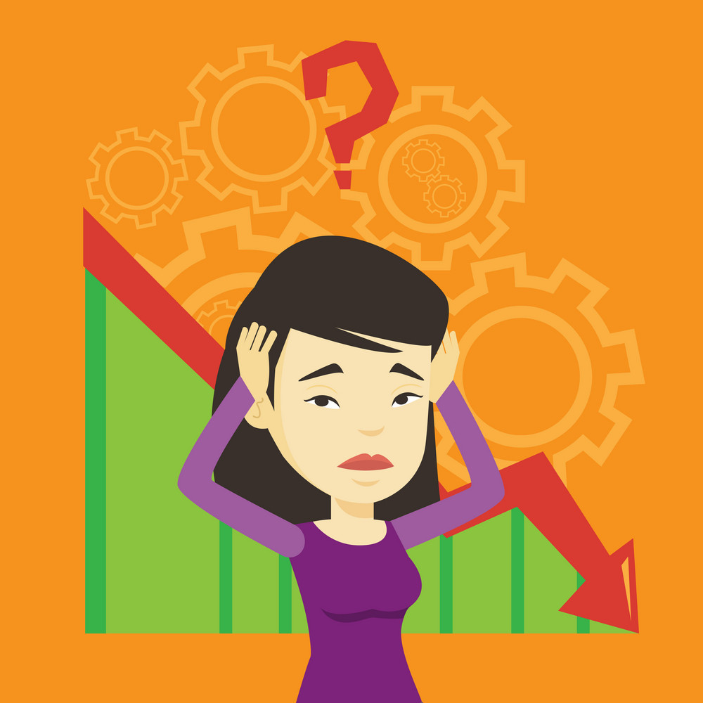 Bankrupt clutching head on the background with cogwheels and chart going down. Woman with big question mark above her head. Business bankruptcy concept. Vector flat design illustration. Square layout.