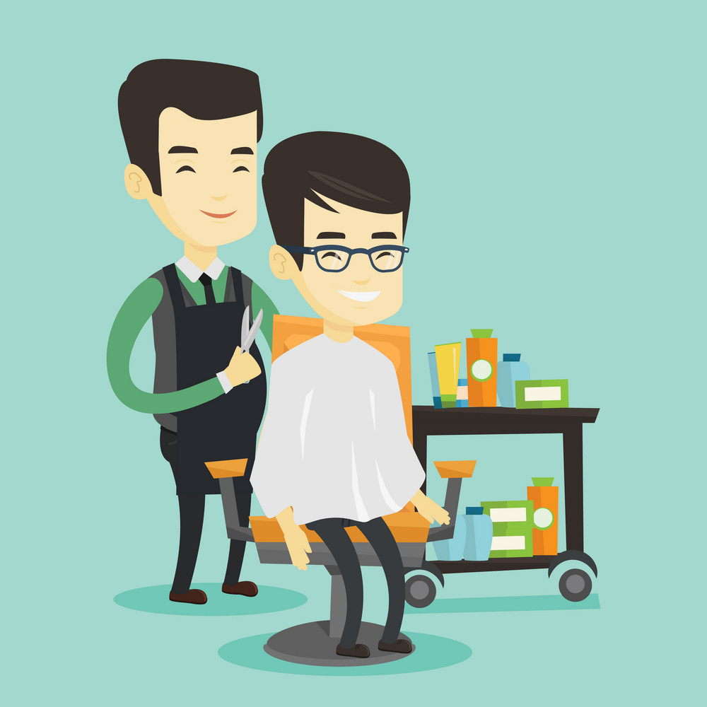 Barber cutting hair of young asian man in barbershop. Professional barber making haircut to a client with scissors in barbershop. Happy barber at work. Vector flat design illustration. Square layout.