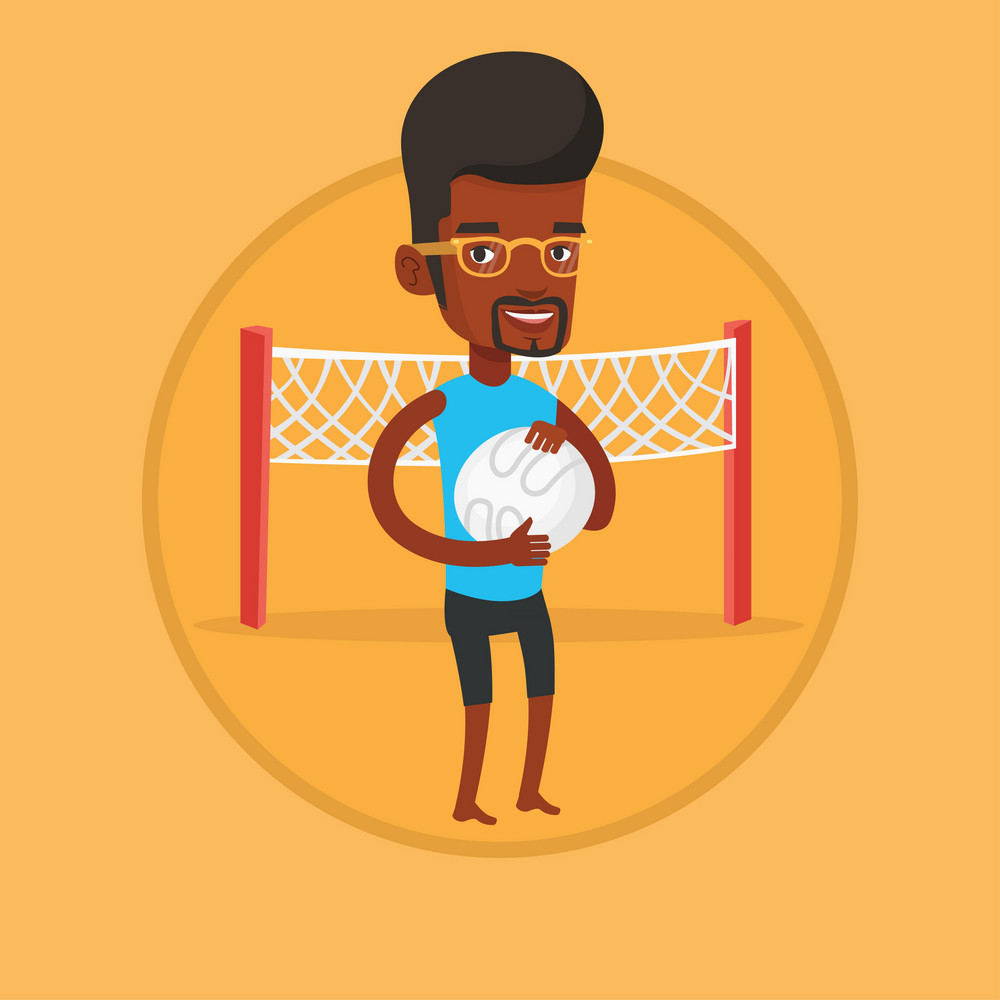 Beach volleyball player holding volleyball ball in hands. Beach volleyball player standing on a background with voleyball net. Vector flat design illustration in the circle isolated on background.