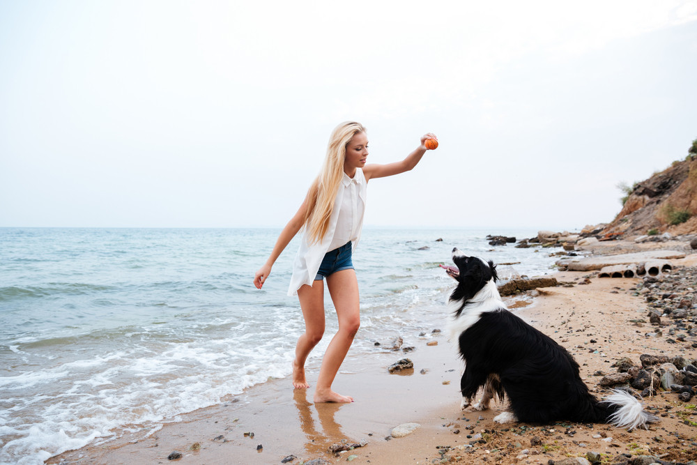 Beautiful blonde young woman playing with dog on the beach