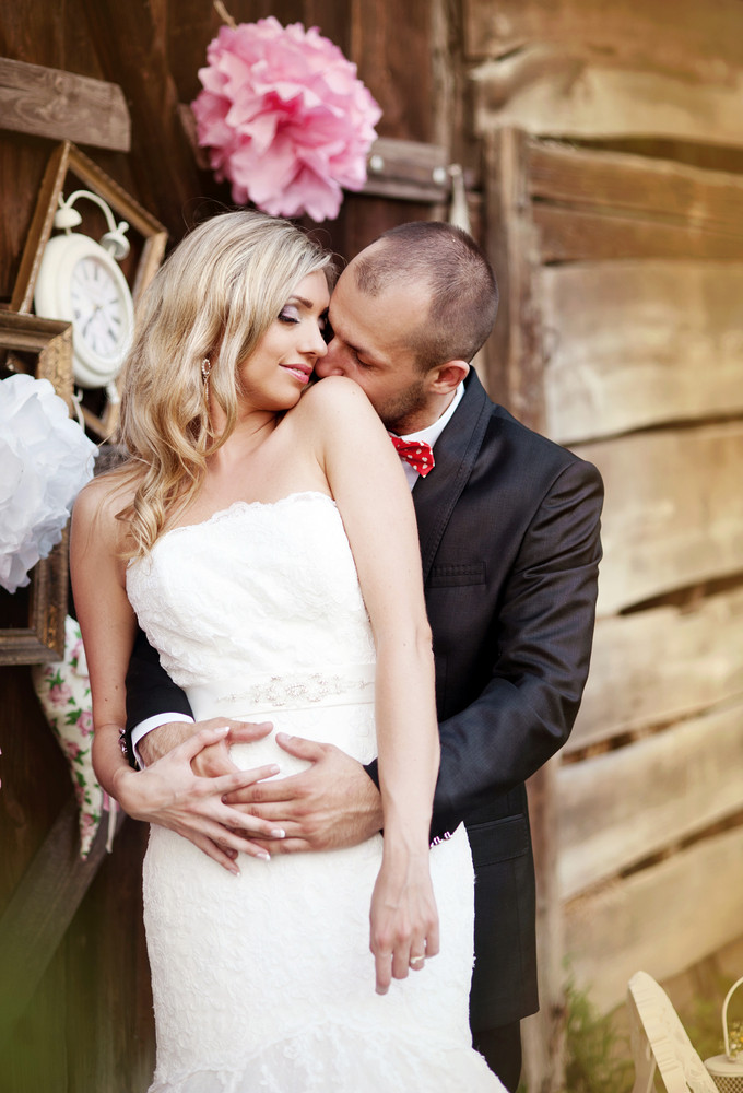 Beautiful bride and groom at their vintage style wedding