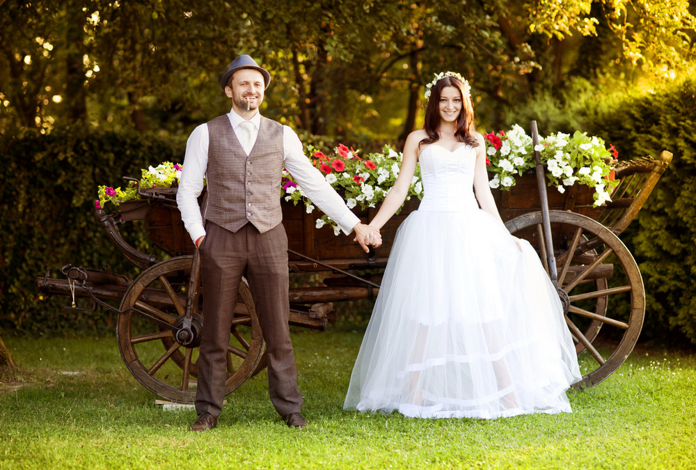 Beautiful bride and groom portrait in nature