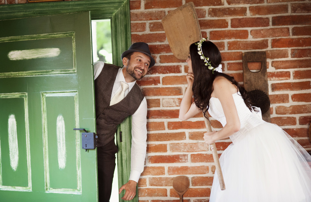 Beautiful bride and their country style wedding