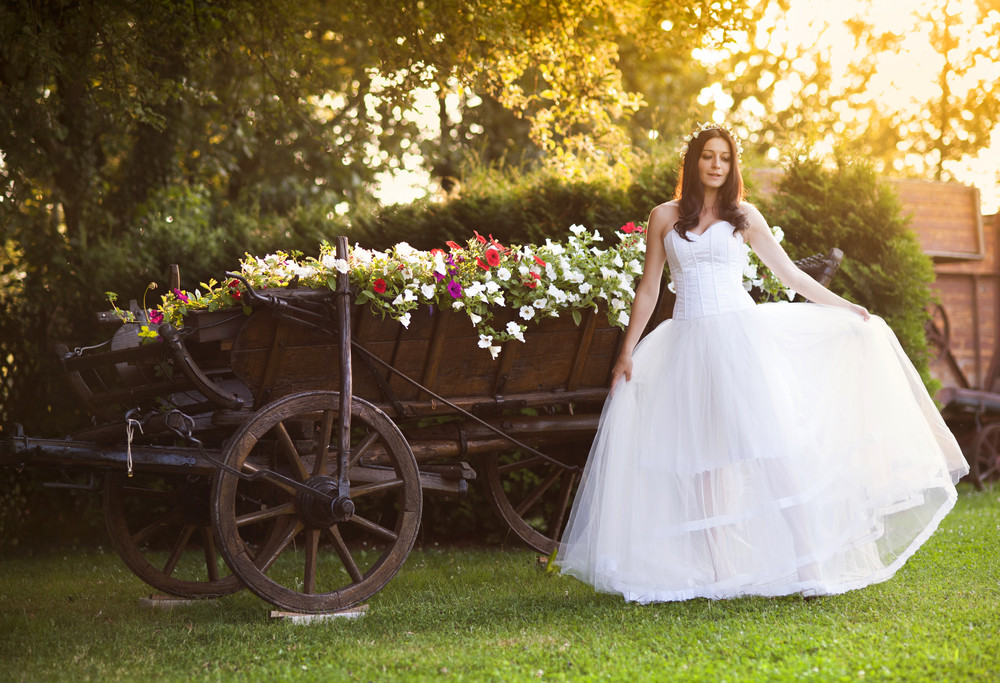 Beautiful bride in country style wedding dress