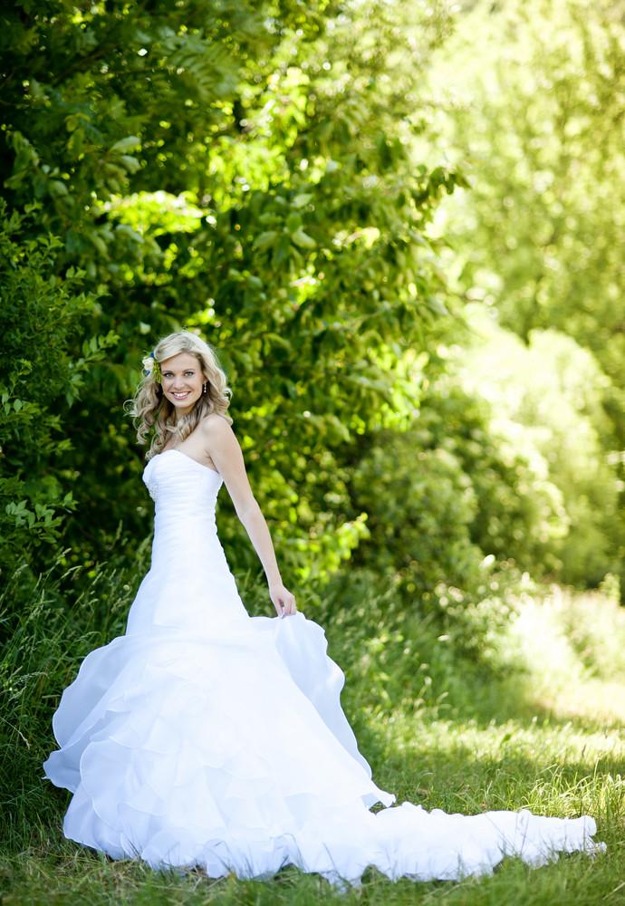 Beautiful bride is enjoying her wedding day