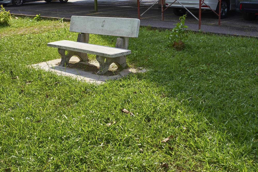 Beautiful granite bench in a park setting.
