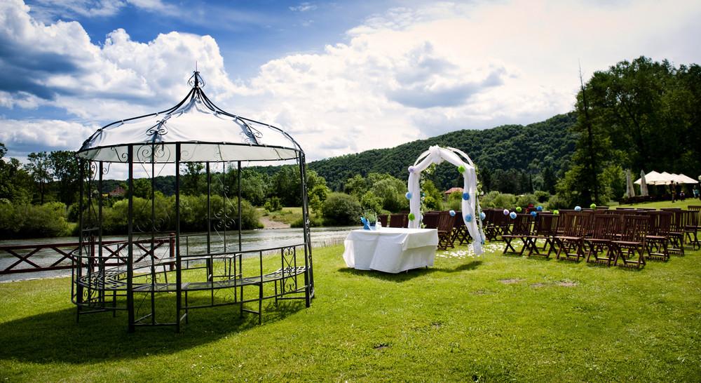 Beautiful outdoor wedding venue in summer
