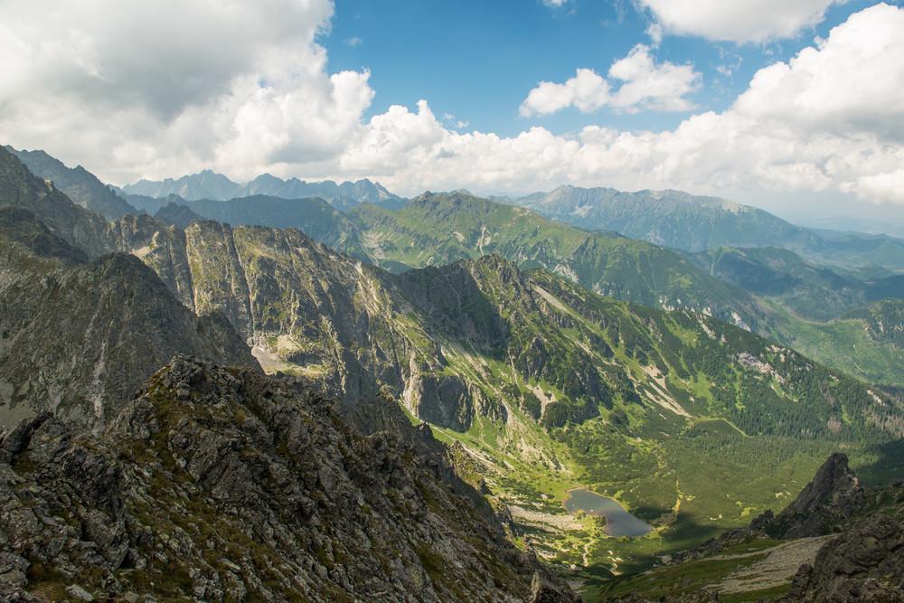 Beautiful scenery of high mountain with lake and high peak. High Tatras Slovakia