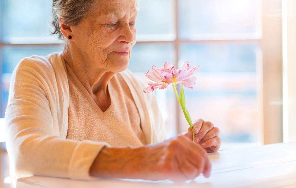 Beautiful senior woman holding a pink flower.