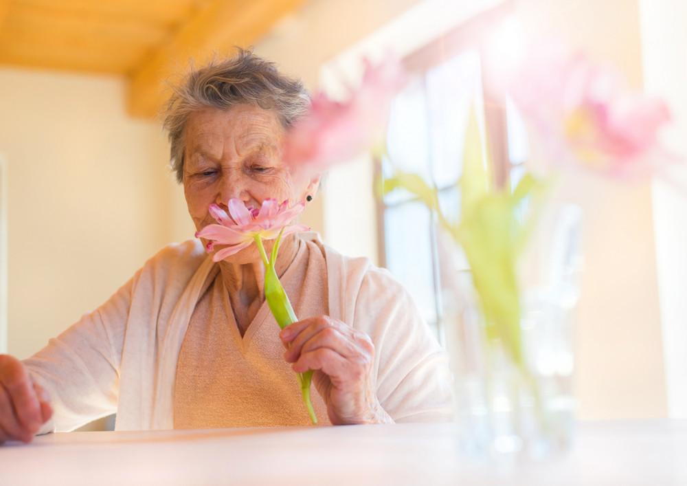 Beautiful senior woman holding a pink flower.