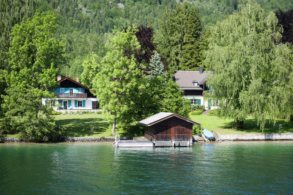 Beautiful summer Alpine town and Alpine lake view in Austria