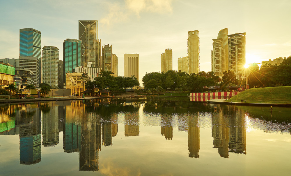 beautiful sunrise view of modern buildings in kuala lumpur