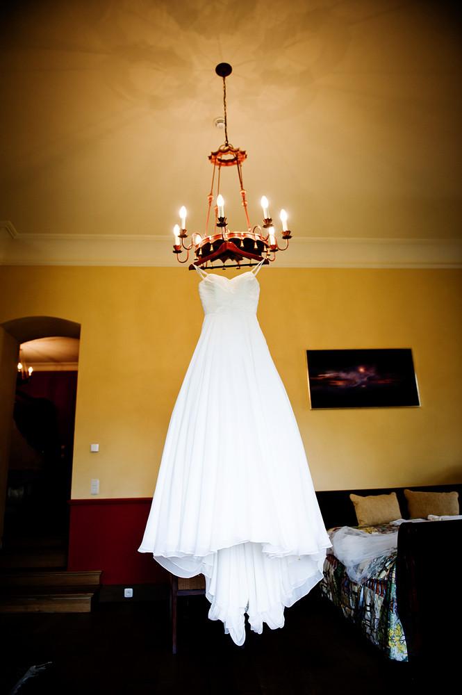 Beautiful white weddding dress ready for bride