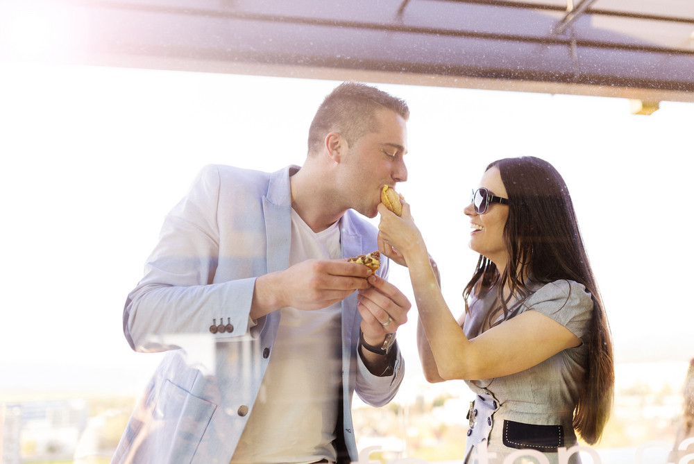 Beautiful young couple enjoying a meal together