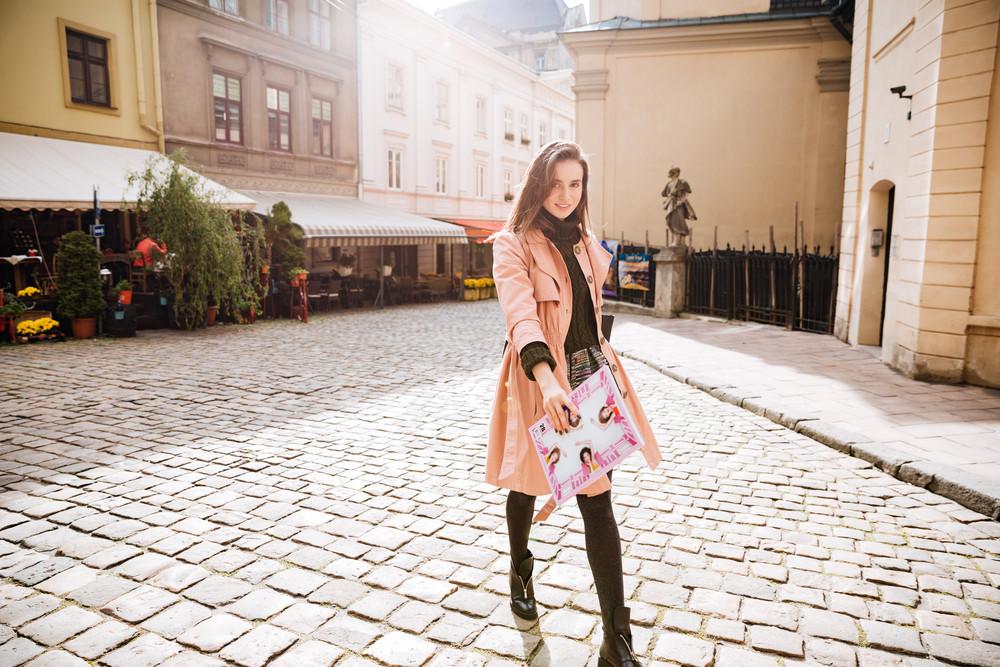 Beauty fashion model in coat