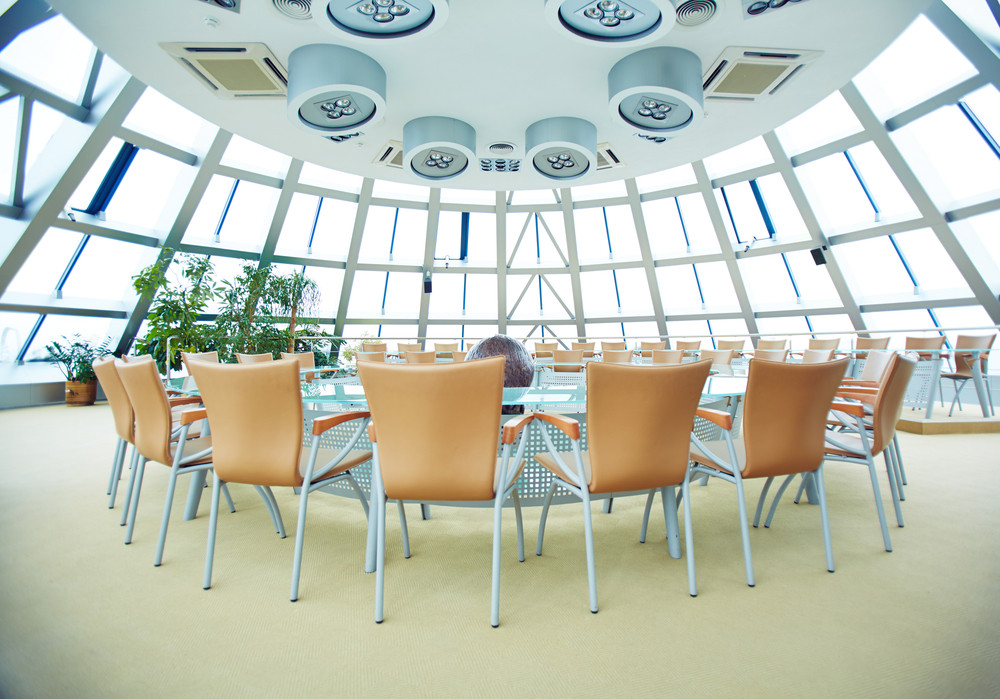 Big conference hall with round table