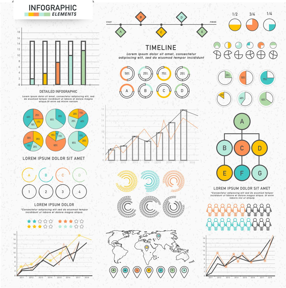 Big set of colorful various Business Infographic elements for your professional report and financial data presentation.