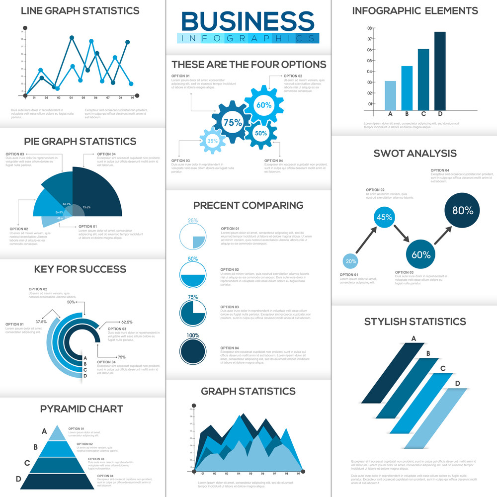 big set of creative business infographic elements with statistical