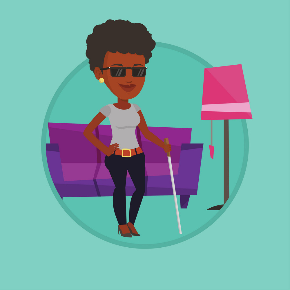 Blind woman standing with walking stick at home. Blind woman in dark glasses standing with cane. Blind woman walking with stick. Vector flat design illustration in the circle isolated on background.