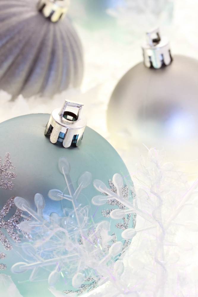 Blue and silver Christmas ornaments with snowflakes