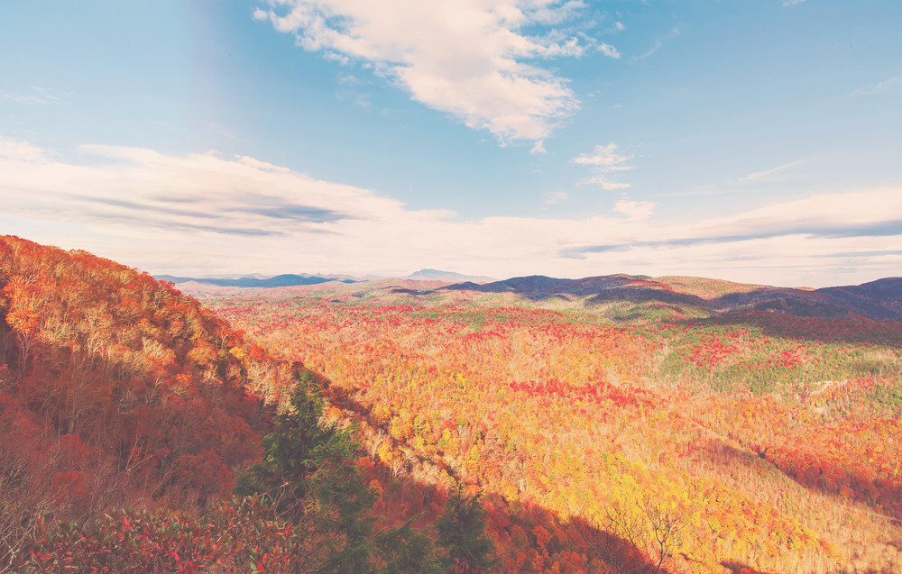 Blue Ridge Mountains In Autumn Near Asheville North