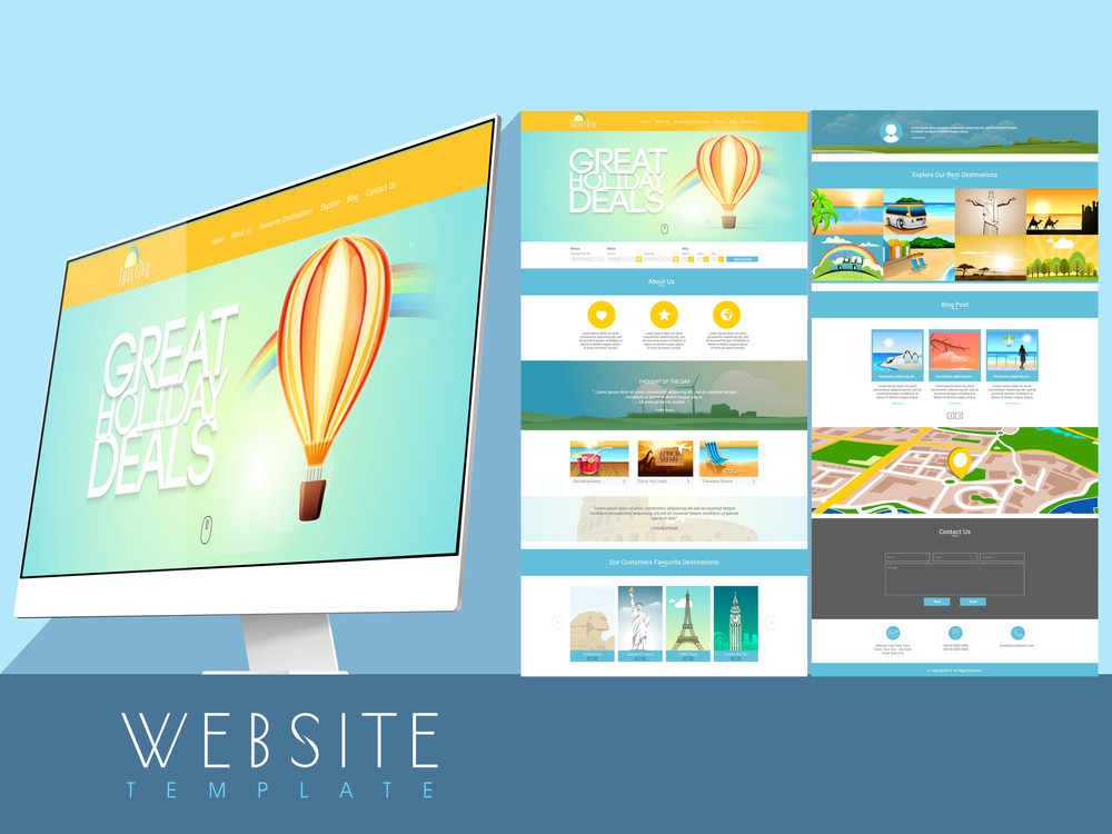 Both side presentation of a beautiful website template design for tourism business purpose.