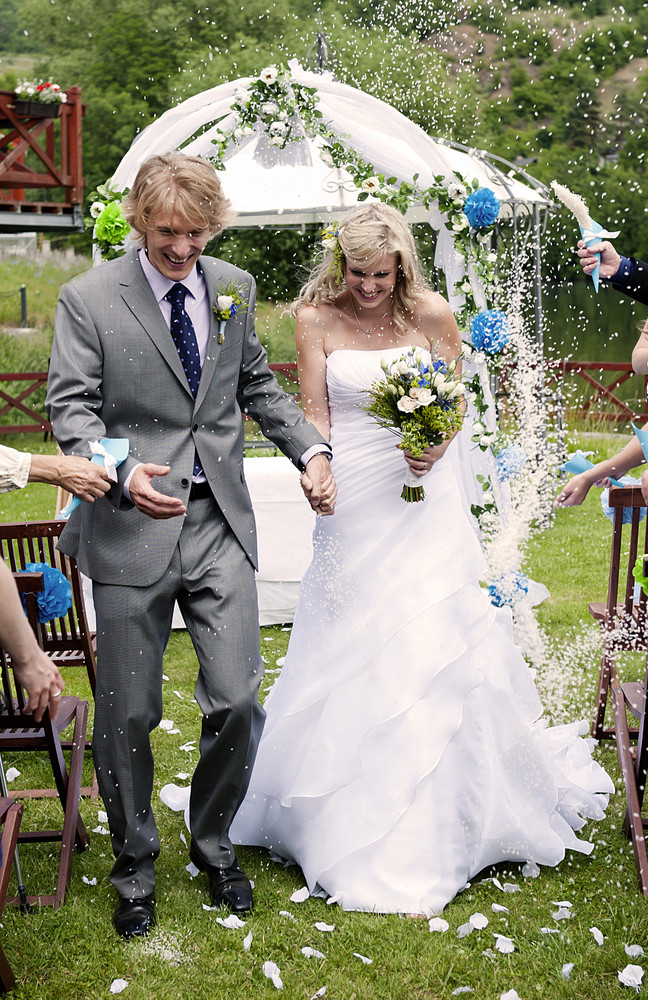 Bride and groom at the beautiful wedding venue in nature