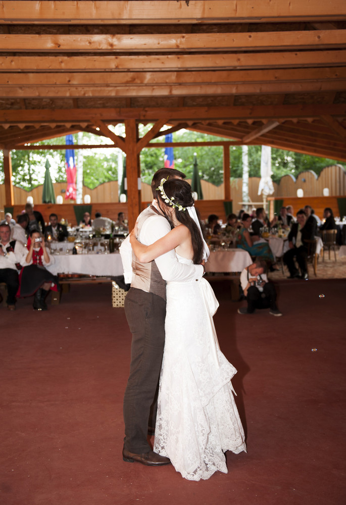 Bride And Groom Dancing At The Wedding Reception Royalty Free Stock
