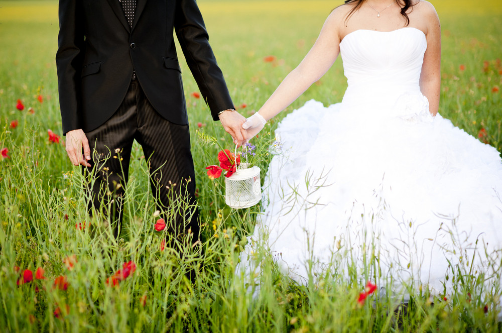 Bride and groom holding poppy flower in the field