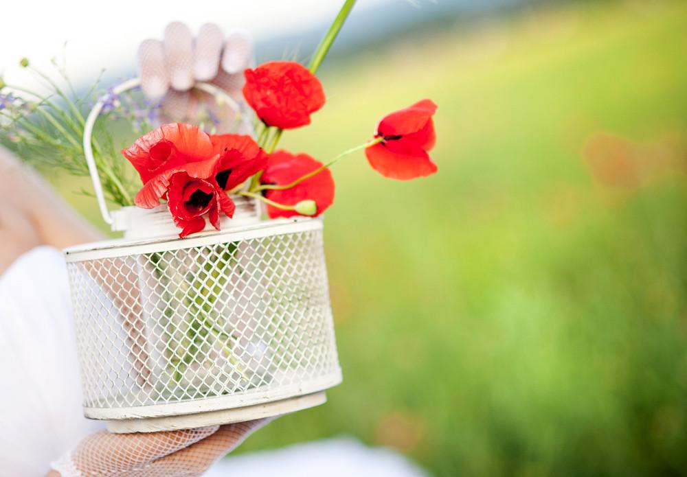 Bride's hand holding poppy flower in the field
