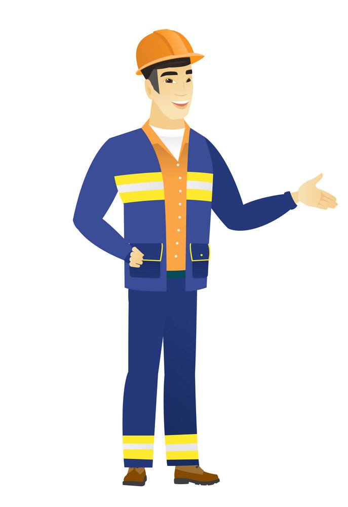 Builder with arm out in a welcoming gesture. Full length of welcoming young asian builder. Builder doing a welcome gesture. Vector flat design illustration isolated on white background.