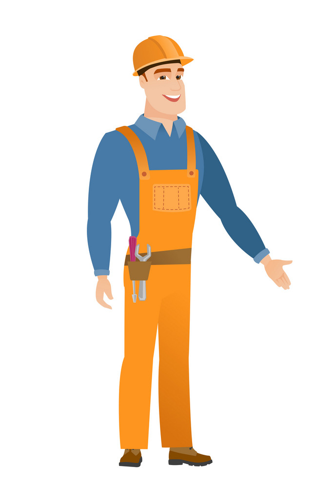 Builder with arm out in a welcoming gesture. Full length of welcoming young caucasian builder. Builder doing a welcome gesture. Vector flat design illustration isolated on white background.