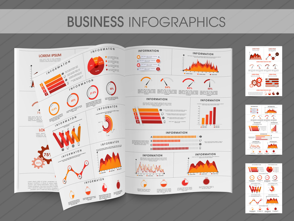 business infographic magazine with creative elements for your