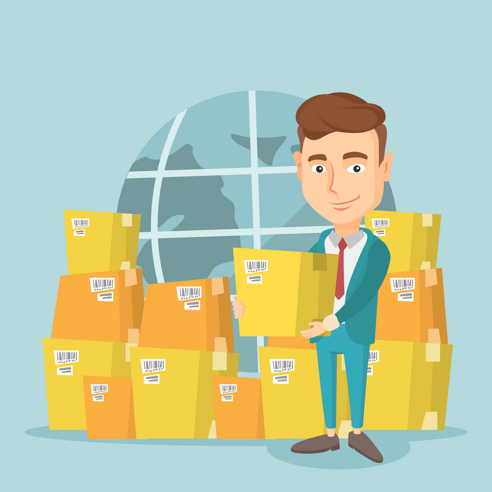Business man holding box on the background of world map and packages. Man working in international delivery service. International delivery concept. Vector flat design illustration. Square layout.