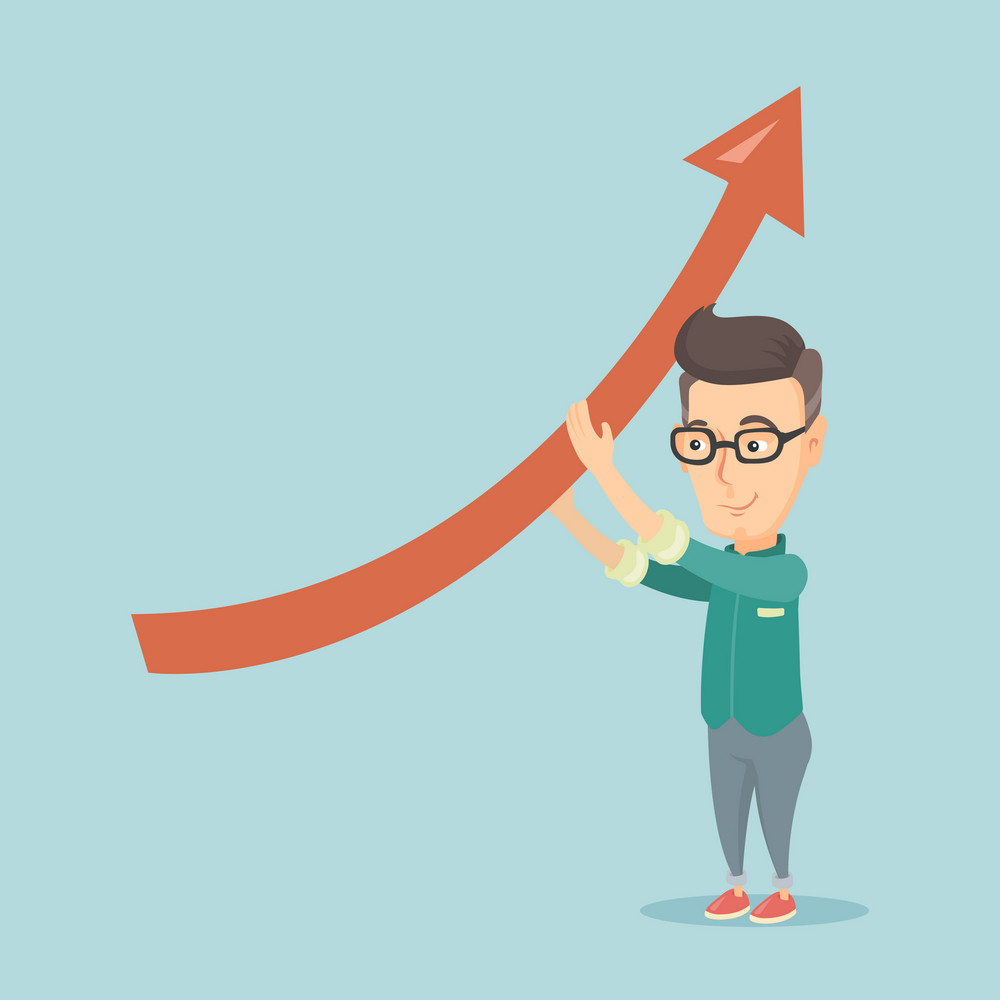 Business man holding graph going up. Business man with growth graph. Caucasian business man changing the path of graph to a positive increase. Vector flat design illustration. Square layout.